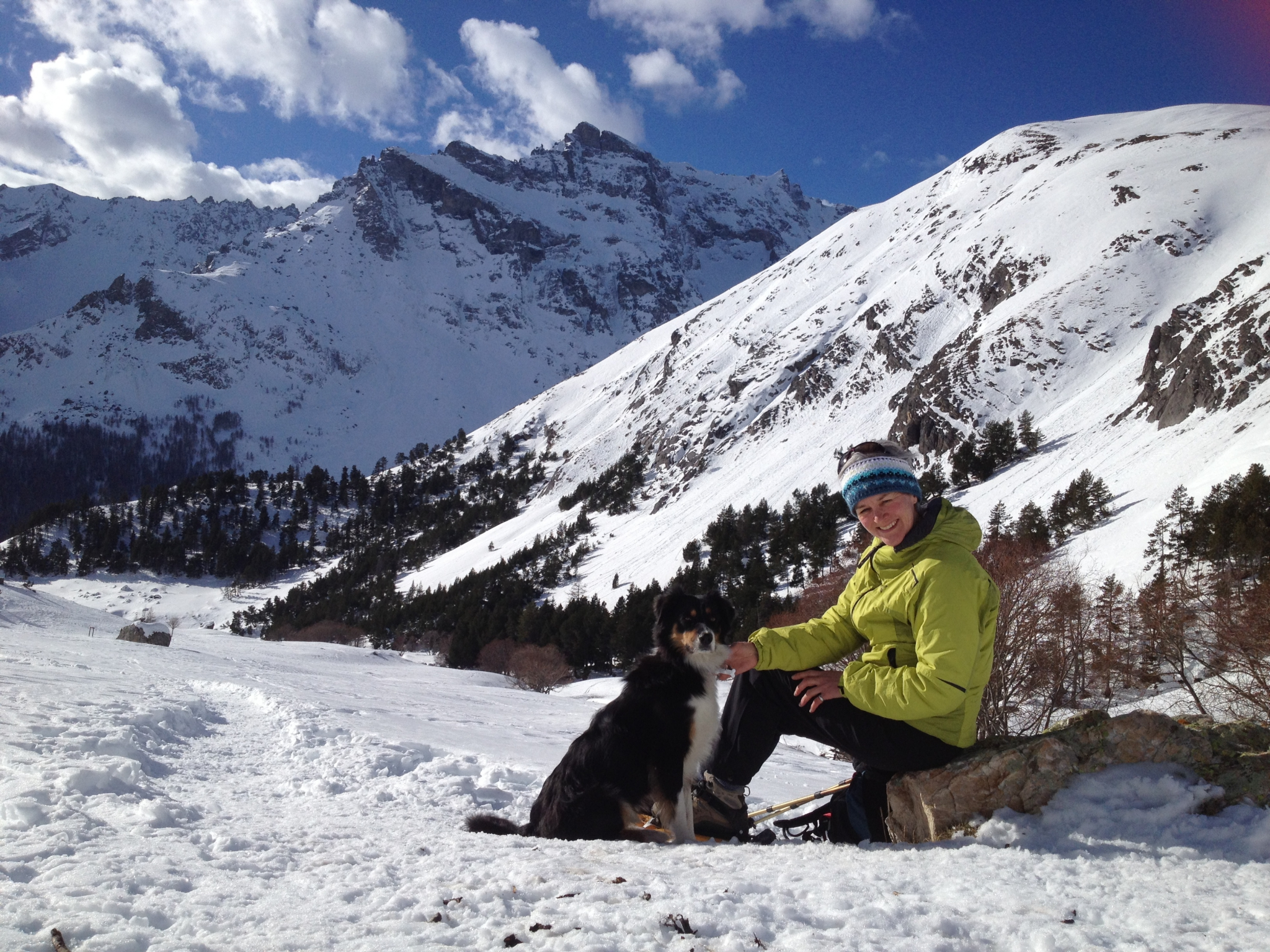 alpe de lauzet winter walk with dogs