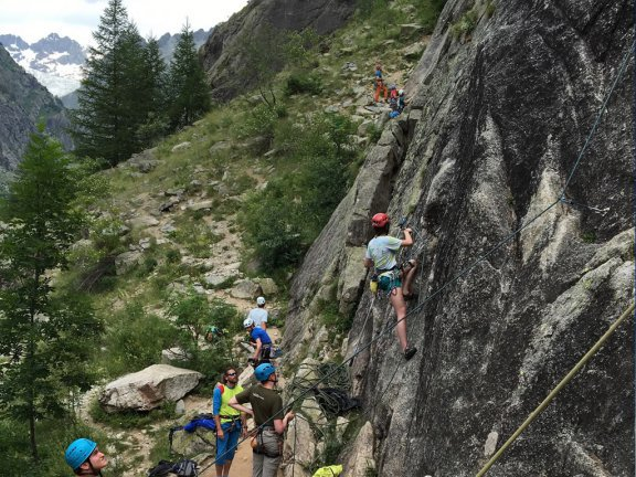 Rock climbing in the French Alps